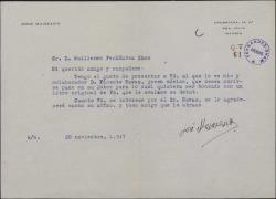 Carta de José Manzano a Guillermo Fernández-Shaw, presentándole a un joven músico.