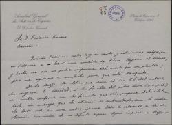 Carta de Francisco Serrano Anguita a Federico Romero, explicándole cierto asunto económico en relación con el maestro Luna.
