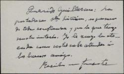 Tarjeta de visita de Anselmo C. Carreño a Guillermo Fernández-Shaw, pidiéndole atienda a la portadora de la misma.