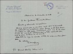 Carta de Federico Oliver a Guillermo Fernández-Shaw, felicitando la Navidad.