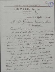 Carta de Juan Cumellas a Guillermo Fernández-Shaw, elogiando una traducción que éste ha hecho de una de sus obras y hablándole de sus gestiones a favor de un homenaje a los hermanos Quintero.