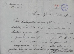 Carta de José Antonio Álvarez Cantos a Guillermo Fernández-Shaw, recomendando a una señorita para formar parte del coro.