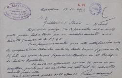 Carta de Ramón Mayoral a Guillermo Fernández-Shaw, felicitándole por la Dirección General de la Sociedad General de Autores de España.