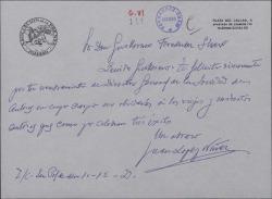 Carta de Juan López Núñez a Guillermo Fernández-Shaw, felicitándole por la Dirección General de la Sociedad General de Autores de España.