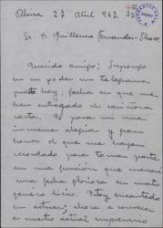 Carta de Andrés García Martí a Guillermo Fernández-Shaw, expresando su alegría por tomar parte en una importante función que preparan.