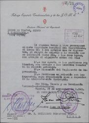 Oficio firmado por Juan de Ponte citando a Guillermo Fernández-Shaw a una reunión en el Sindicato Nacional del Espectáculo.