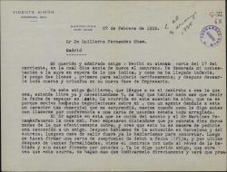 Carta de Vicente Simón a Guillermo Fernández-Shaw, comentando sus negociaciones con un agente teatral.