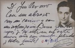Tarjeta postal de Pedro Terol felicitando las navidades a Guillermo Fernández-Shaw