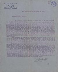 "Carta de Federico Caballé a Federico Romero, proponiéndole estrenar ""La meiga"""