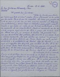 """Carta de Renato Cesari a Guillermo Fernández-Shaw, hablando de sua actividades artísticas y pidiendo una oportunidad para cantar en su """"Luisa Fernanda""""."""