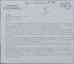 Carta de Manuel Gas a Guillermo Fernández-Shaw, pidiéndole que interceda a favor de su compañía teatral en cierto asunto relativo al Ministerio de Información y Turismo.