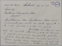 Carta de Antonio Vela a Guillermo Fernández-Shaw, agradeciéndole la suya y anunciándole su próxima llegada a Madrid.