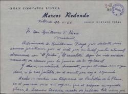 Carta de Juan Sanchez Gil a Guillermo Fernández-Shaw, pidiéndole su apoyo para obtener una plaza de delegado de la Sociedad General de Autores de España.