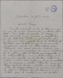 Carta de Federico Caballé a Federico Romero, hablando sobre temas de teatro.