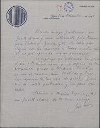 """Carta de José Luis a Guillermo Fernández-Shaw, felicitándole por el éxito de """"El caserío""""."""