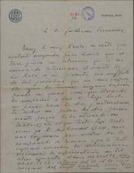 Carta de Tomás a Guillermo Fernández-Shaw, solicitando permiso para incluir una obra de éste en una gira y solucionar así una grave situación.
