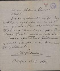 Carta de Marcos Redondo a Federico Romero, agradeciendo su carta.