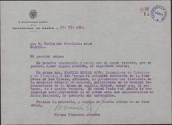 Carta de Ursicino Álvarez a Guillermo Fernández-Shaw, recomendándole a un pariente suyo para una plaza vacante en la Sociedad General de Autores de España.