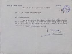 Carta de José de Yanguas Messia a Guillermo Fernández-Shaw, dándole el pésame por la muerte de su madre.