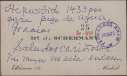 Tarjeta de visita de J. Schermant diciendo que ha recibido 1433 pesetas para pagar el agua.