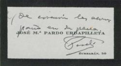 Tarjeta de visita de José María Pardo Urdapilleta, dando un pésame.