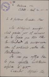 """Carta de José Castillejo a Guillermo Fernández-Shaw, agradeciéndole el artículo publicado en """"La Epoca"""" sobre cierta institución."""