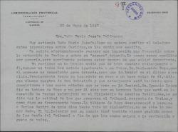 Carta de Florentino Fernández a María Josefa Baldasano, esposa de Guillermo Fernández-Shaw, comunicándole sus impresiones favorables sobre los exámenes que está realizando su hijo Carlos Manuel para emprender su carrera diplomática.