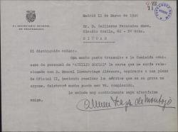 Carta de Carmen Icaza a Guillermo Fernández-Shaw, contándole sus gestiones para con un recomendado suyo.