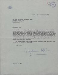 Carta de la Duquesa de Alba a Guillermo Fernández-Shaw, sobre una recomendación hecha por éste a favor de un anciano.
