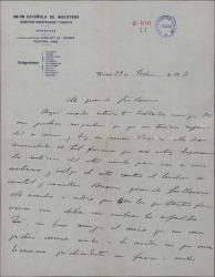 Carta de Emilio Acevedo a Guillermo Fernández-Shaw, hablando de problemas económicos personales.