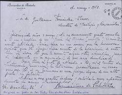 """Carta de Bernardino de Pantorba a Guillermo Fernández-Shaw, remitiendole un ejemplar de su """"Guía del Museo Sorolla"""" para que se ocupe de ella en la revista """"Cortijos y Rascacielos""""."""