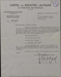 Carta de Ferruccio Pasquali a Federico Romero, pidiendo autorización para que sean radiodifundidas en Italia varias obras de éste y de Guillermo Fernández-Shaw.