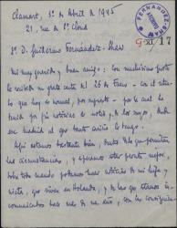Carta de Enrique Chandebois a Guillermo Fernández-Shaw, con alusiones a las dificultades causadas por la guerra y refiriéndose a los proyectos teatrales de ambos.