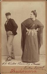 Fotografía de Emilio Duval. Fotografía de Emilio Duval y Paquita Fernani en una obra de la temporada de género chico del Teatro Eldorado de Barcelona.