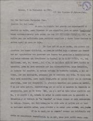 """Carta de Pedro Fernández a Guillermo Fernández-Shaw, explicándole los motivos de no haber escrito antes y felicitándole por las cuatrocientas representaciones de la obra """"A todo color""""."""