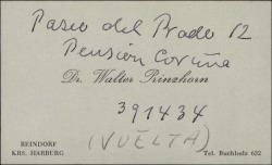 Tarjeta de visita de Walter Prinzhorn con una dirección postal anotada a mano.