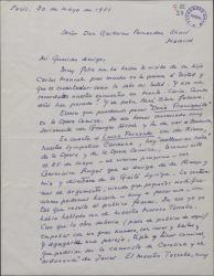 """Carta de André de Badet a Guillermo Fernández-Shaw, consultándole las modificaciones que piensa introducir en la obra """"Luisa Fernanda"""" para adaptarla al gusto francés y poder representarla en Francia."""
