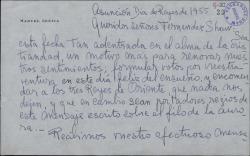 Carta de Manuel Lezica a Guillermo Fernández-Shaw, felicitándole con motivo de las fiestas navideñas.