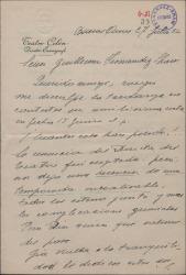 Carta del director escenógrafo del Teatro Colón de Buenos Aires a Guillermo Fernández-Shaw contestando a una suya y dando noticias.
