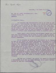 Carta de Juan Segalés Alegre a Guillermo Fernández-Shaw agradeciendo su carta de felicitación navideña.