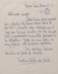 Carta de Malena Grether de Baila contestando a una felicitación navideña.
