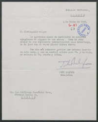 Carta del embajador británico John Balfour a Guillermo Fernández-Shaw, agradeciéndole el envío de ejemplares de algunas de sus obras.