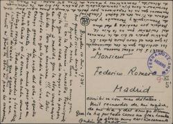 """Carta de André de Badet a Federico Romero, contando las incidencias del estreno de """"Doña Francisquita"""" en Bélgica."""