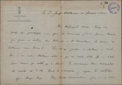 Carta de Juan Aznar, capitán general del departamento de Cartagena, contestando a una recomendación de María Josefa Baldasano.