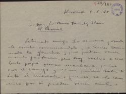Carta de Paquita Velerda a Guillermo Fernández-Shaw, diciéndole que ya puede recoger un encargo.