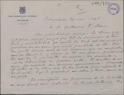 Carta de Aníbal Sánchez Fraile a Guillermo Fernández-Shaw, expresándole su admiración e invitándole a una representación teatral en Salamanca.