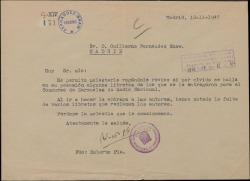Carta de Roberto Plá a Guillermo Fernández-Shaw, pidiéndole unos libretos.