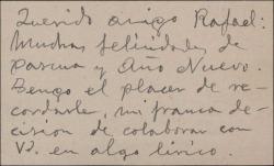 Tarjeta de visita de José Moreno Sans, felicitando la Pascua a Rafael Fernández-Shaw.