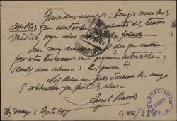 Tarjeta postal de Ángel Barrios a Guillermo Fernández-Shaw, pidiendo una entrevista para tratar un tema sobre el Teatro Madrid.