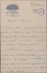 Carta de Jesús Romo a Rafael Fernández-Shaw, hablando de sus actividades teatrales.